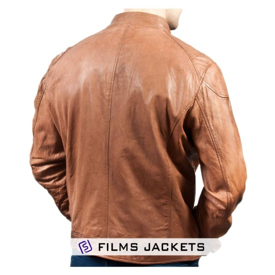 Men's Motorcycle Zipper Pockets Tan Leather Jacket