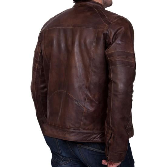 Men's Motorcycle Zipper Pockets Vintage Brown Leather Jacket