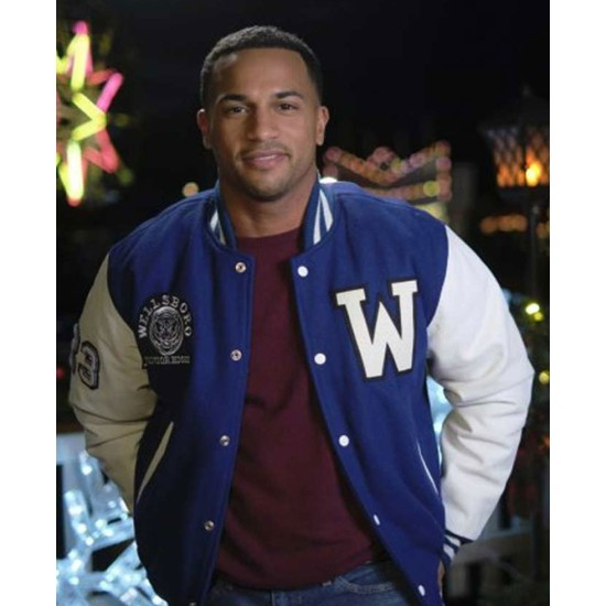 Michael Xavier Christmas Comes Twice Blue Letterman Jacket