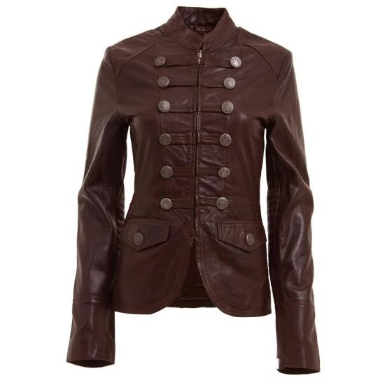Women's Military Style Brown Leather Blazer Jacket