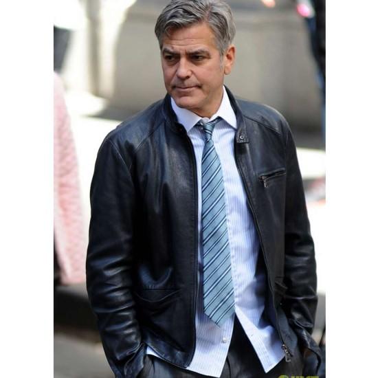 George Clooney Money Monster Film Lee Gates Leather Jacket