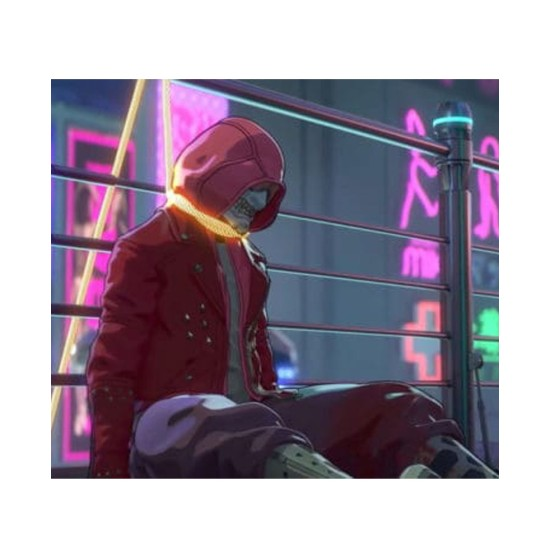 Altered Carbon Resleeved Red Leather Hooded Jacket