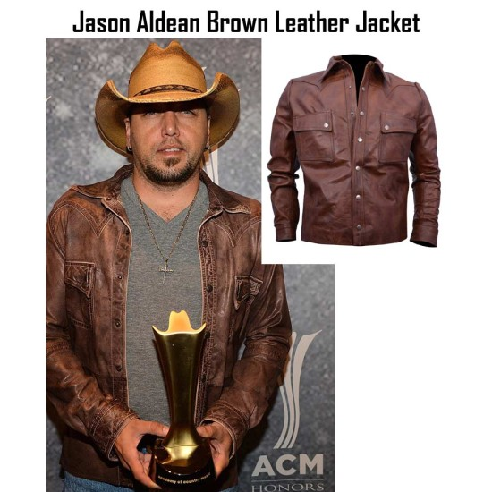 Country Music Star Jason Aldean Brown Leather Jacket