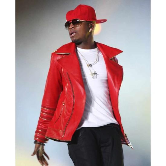 Ne-Yo Military Style Red Leather Jacket