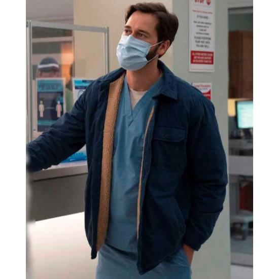 New Amsterdam Ryan Eggold Blue Cotton Jacket