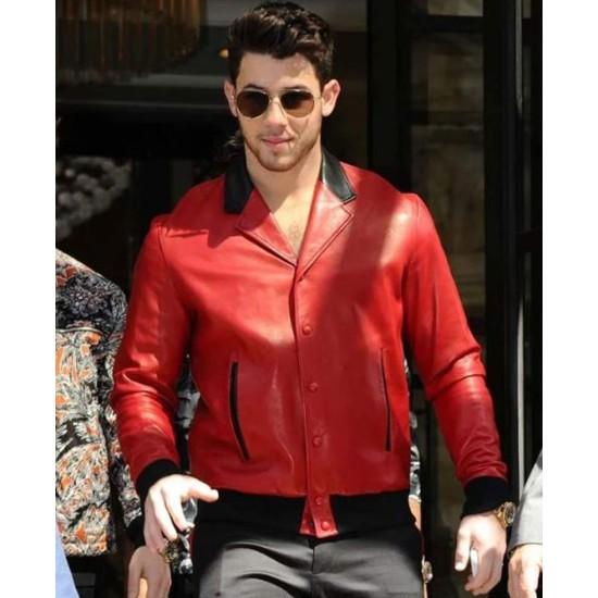 Nick Jonas Red Leather Bomber Jacket