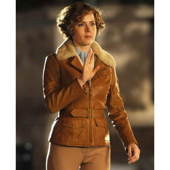 Night at The Museum Amelia Earhart Leather Jacket with Fur Collar