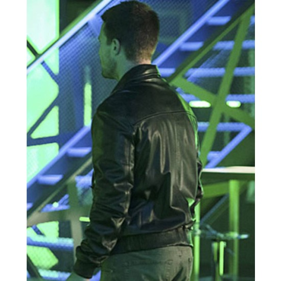 Stephen Amell Arrow Oliver Queen Bomber Leather Jacket