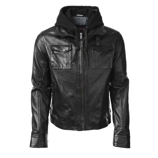 Oliver Queen Black Leather Jacket with Hoodie