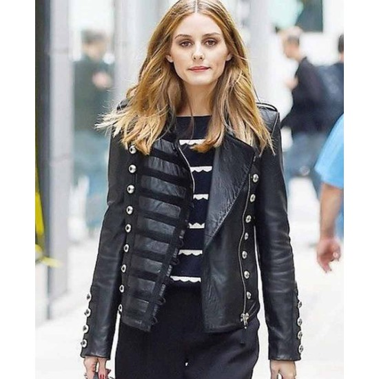 Olivia Palermo Street Wear Leather Jacket