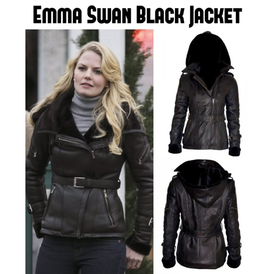Once Upon a Time Emma Swan Black Leather Jacket