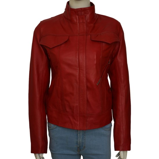 Emma Swan Once Upon a Time Season 6 Red Leather Jacket
