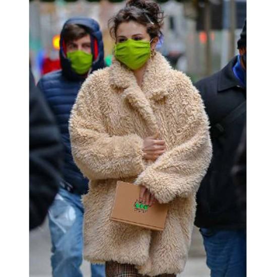 Selena Gomez Only Murders in the Building Fur Peacoat