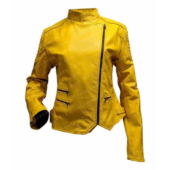 Women's El Paso Yellow Leather Biker Jacket