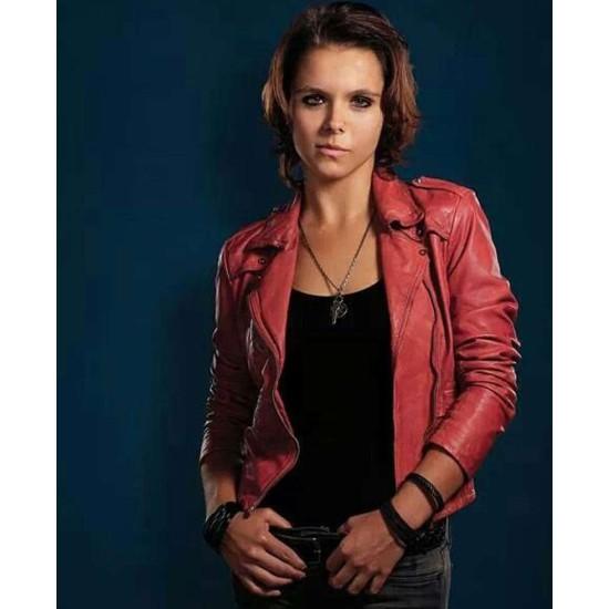Paloma Kwiatkowski Bates Motel Red Leather Jacket