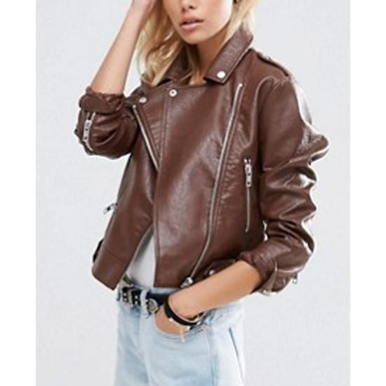 Women's Pembroke Brown Leather Motorcycle Jacket
