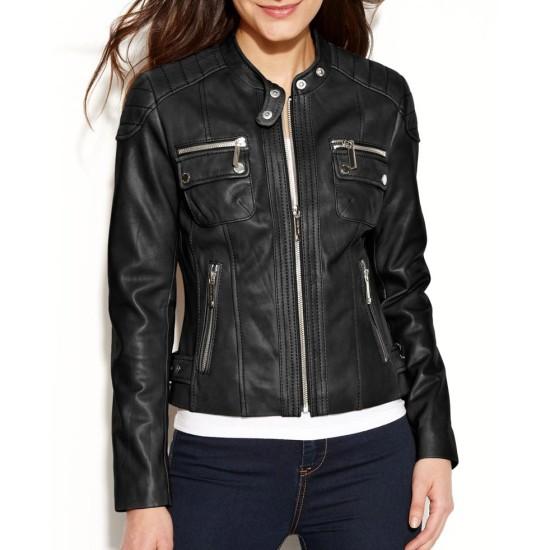 Women's Petite Quilted Black Leather Biker Jacket