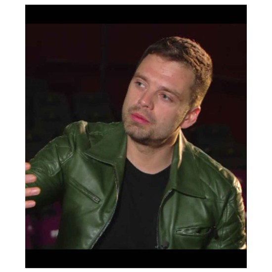Motorcycle Sebastian Stan Green Leather Quilted Jacket