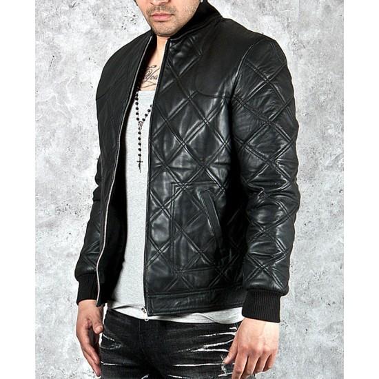 David Beckham Quilted Black Leather Jacket