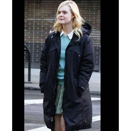 Elle Fanning A Rainy Day in New York Hooded Coat