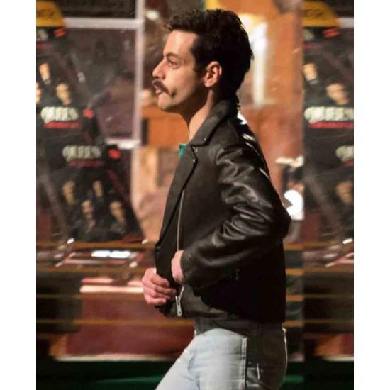 Rami Malek Bohemian Rhapsody Motorcycle Black Leather Jacket