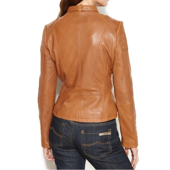 Women's Motorcycle Buckle Collar Quilted Leather Jacket