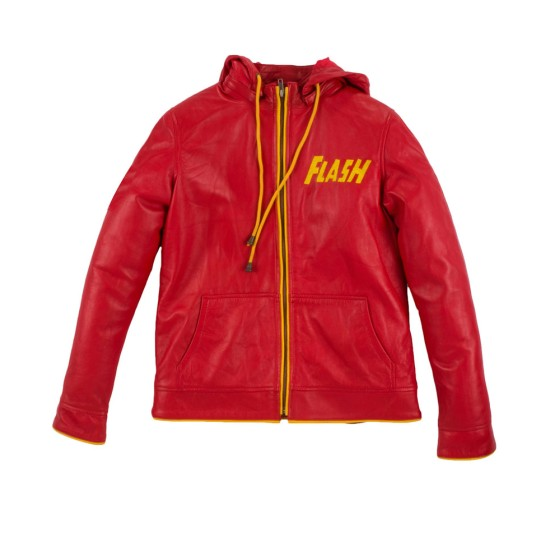 Flash Red Leather Jacket with Hoodie