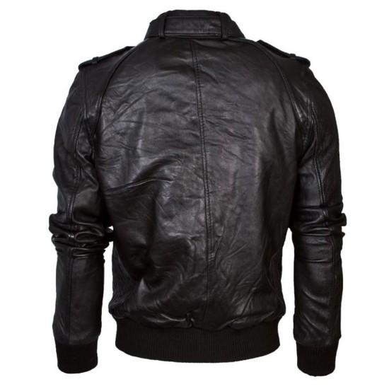 Men's Casual Wear Black Leather Bomber Jacket