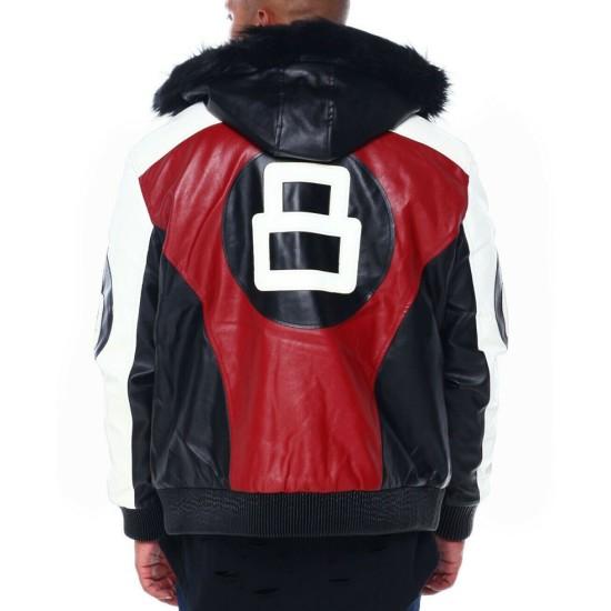 8 Ball Robert Phillipe Leather Jacket with Fur Hood
