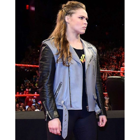 Biker Style Ronda Rousey Black and Grey Jacket