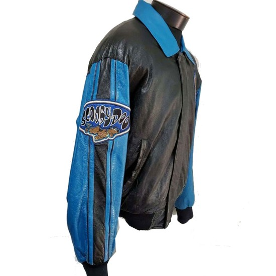 Bomber Scooby Doo Black and Blue Leather Jacket
