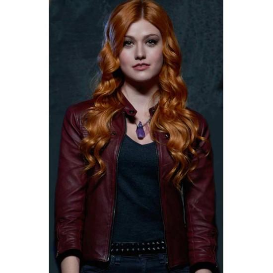 Shadowhunters Katherine Mcnamara Red Leather Jacket