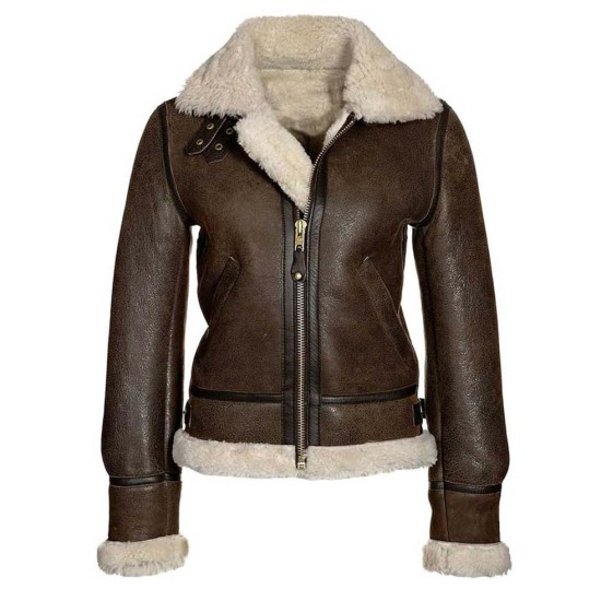 Women's Aviator Distressed Brown Leather Jacket