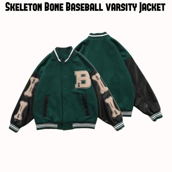 Bad To The Bone Skeleton Baseball Jacket