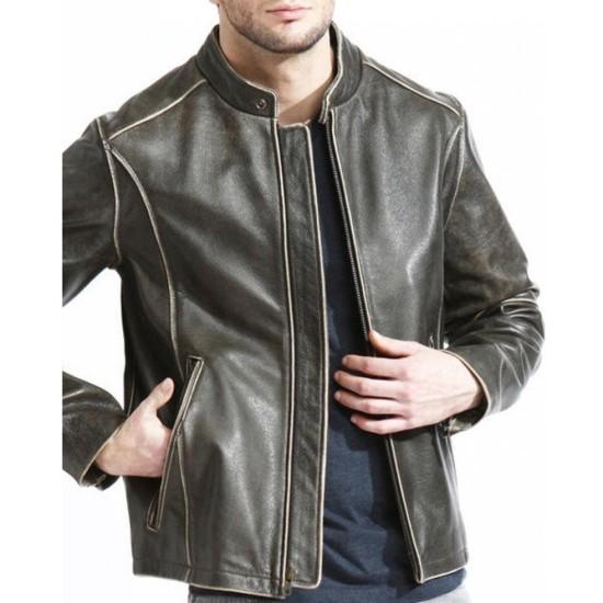Men's Snap Tab Collar Brown Leather Biker Jacket