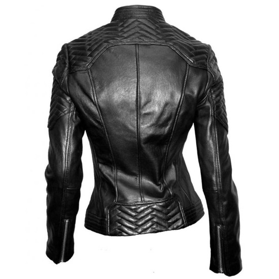 Women's Snap Tab Collar Black Quilted Leather Moto Jacket