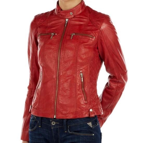 Women's Snap Tab Collar Red Leather Biker Jacket