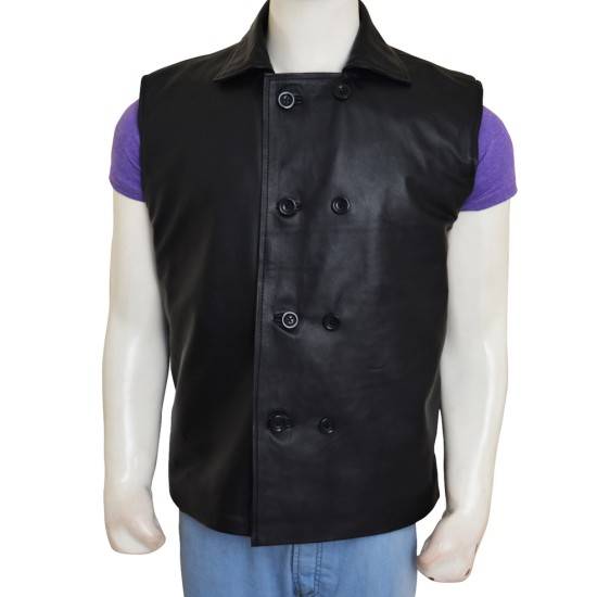 Double Breasted Style Spider-Man Noir Black Leather Vest