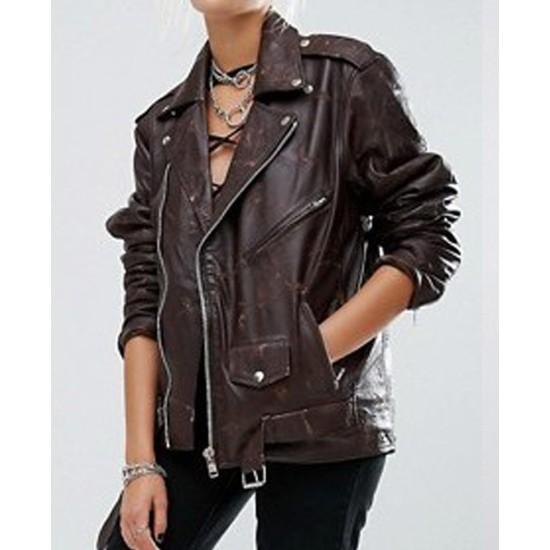 Women's Springfield Belted Brown Motorcycle Jacket
