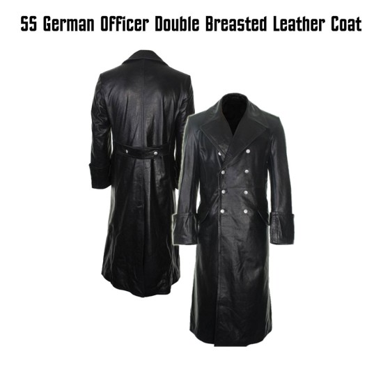 German Officer Double Breasted Leather Coat