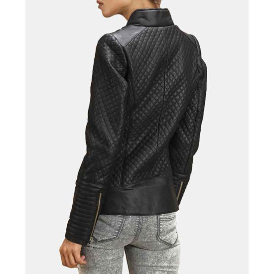Women's Stand Collar Quilted Leather Motorcycle Jacket