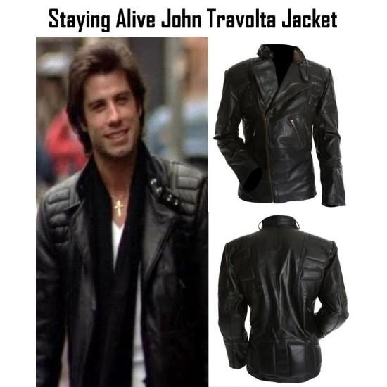 John Travolta Staying Alive Tony Manero Leather Jacket