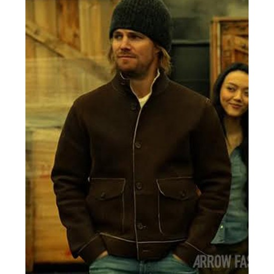 Arrow Oliver Queen Brown Suede Leather Jacket