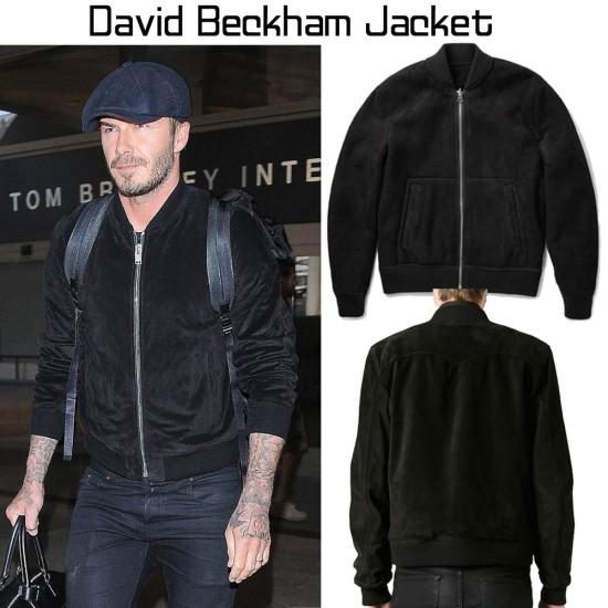 Bomber Style David Beckham Suede Jacket