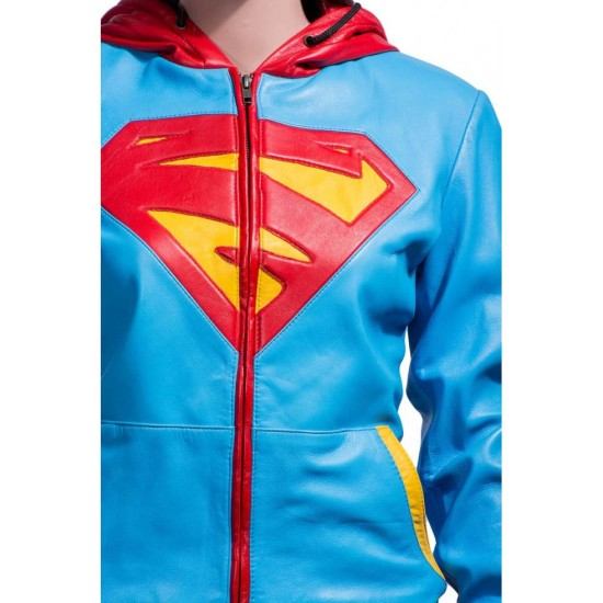 Supergirl Leather Jacket Hoodie