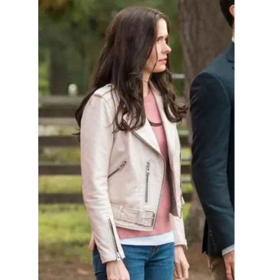 Elizabeth Tulloch Superman & Lois Motorcycle Leather Jacket