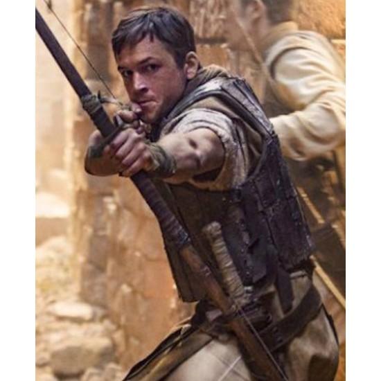 Robin Hood Film Taron Egerton Leather Vest