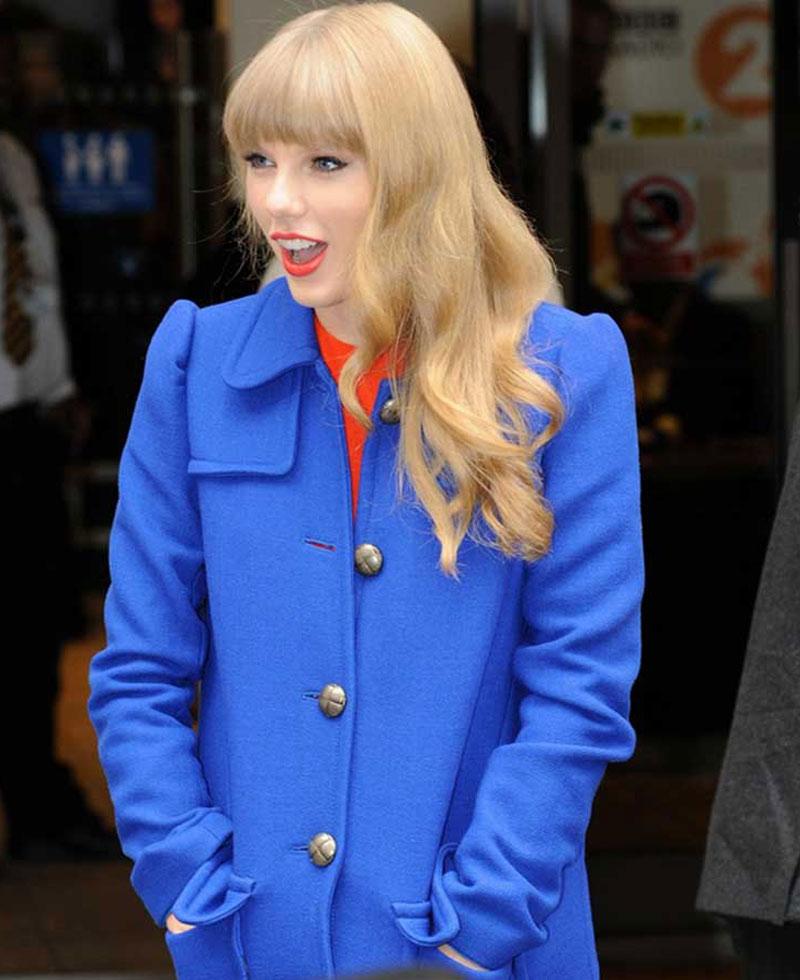 Street Style Taylor Swift Blue Coat Films Jackets