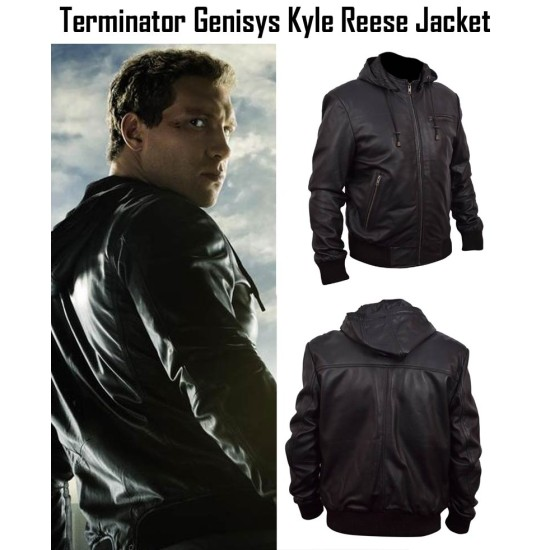 Kyle Reese Terminator 5 Leather Jacket with Hoodie