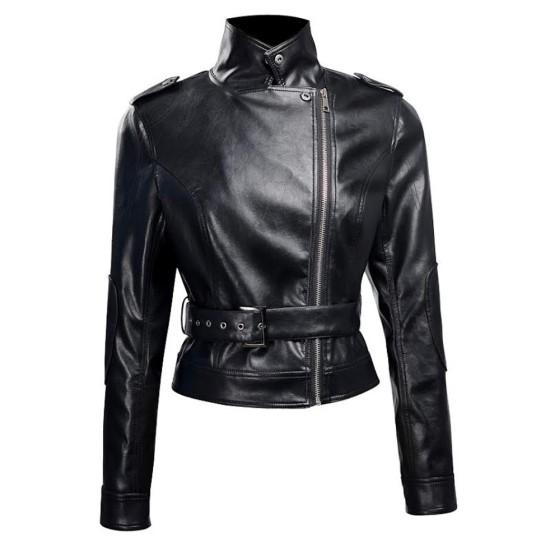 Terminator Genisys Sarah Connor Biker Style Leather Jacket
